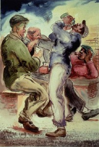 Four men drinking by Maxo Vanka